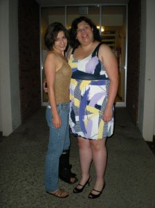 Krystle and I outside our dorm ready to go to the concert! :-) Check out my stylish boot on my left foot!